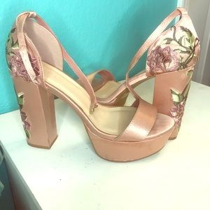 Satin embroidery heels